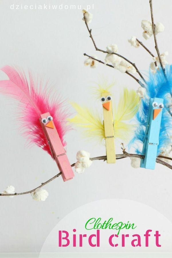 Vogel Aus Wascheklammern Basteln Clothespin Bird Craft Idea For