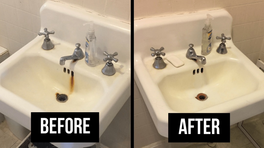 How To Remove Rust Stains From A Porcelain Tub Or Sink Cabana State Of Mind Remove Rust Stains Porcelain Tub Clean Porcelain Sink