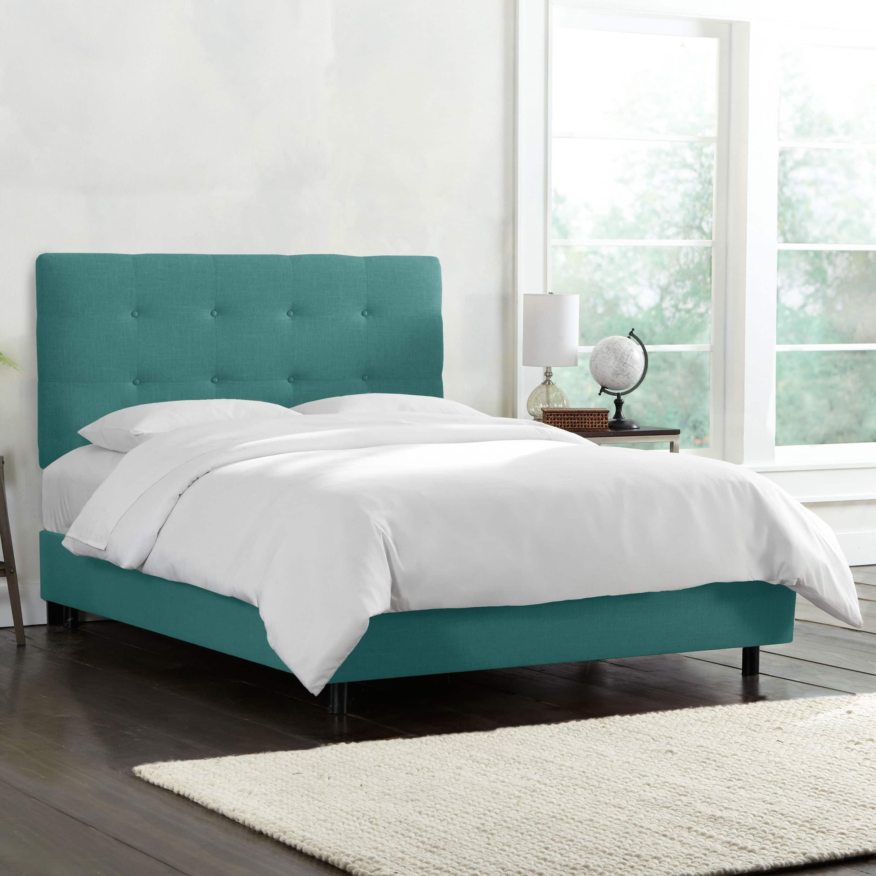 Button tufted linen upholstered bed skyline furniture twin linen