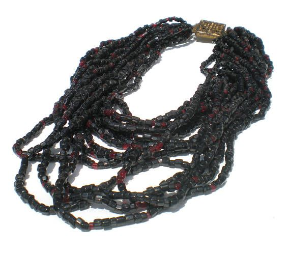 Dark Red Multi Strand Necklace Garnet Red Seed Beads with Box
