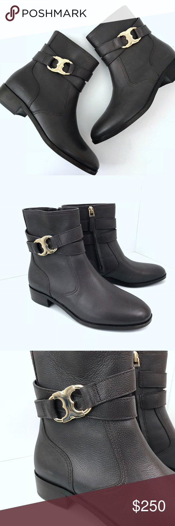 6345a22b286f Tory Burch Gemini Link Ankle Booties Brown Sz 6.5 Tory Burch Gemini Link  Ankle Booties Brown