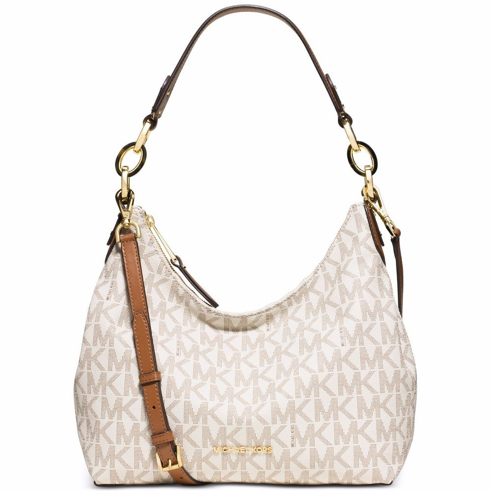 d39940c2ea79 Michael Kors MK Signature Isabella Medium Shoulder Bag Vanilla Beige NWT # MichaelKors #ShoulderBag