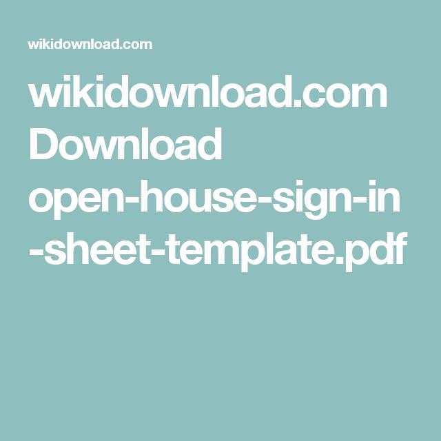 WikidownloadCom Download OpenHouseSignInSheetTemplatePdf