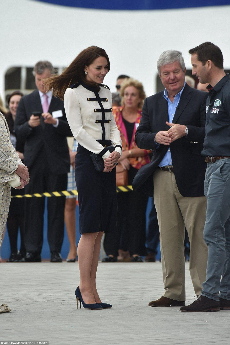 Kate, 34, sported a nautical style Alexander McQueen two piece as she arrived looking slig...
