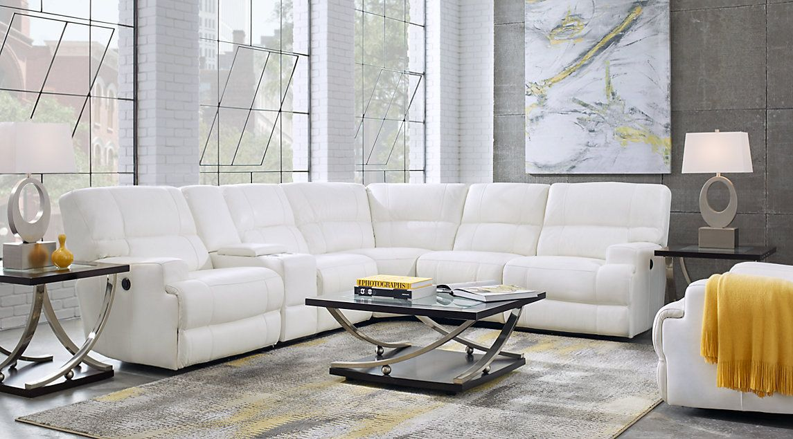 Galiano White 6 Pc Leather Power Reclining Sectional ...