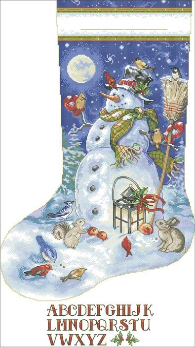 Stocking Snow Friend Stocking Snowman gold Dimensions Counted X Stitch