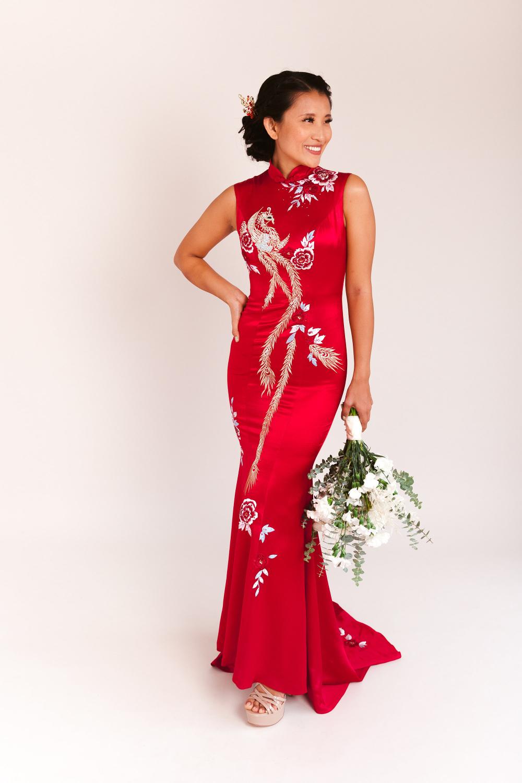 Custom Red Phoenix Cheongsam Dress  Modern Mermaid Silk Cheongsam