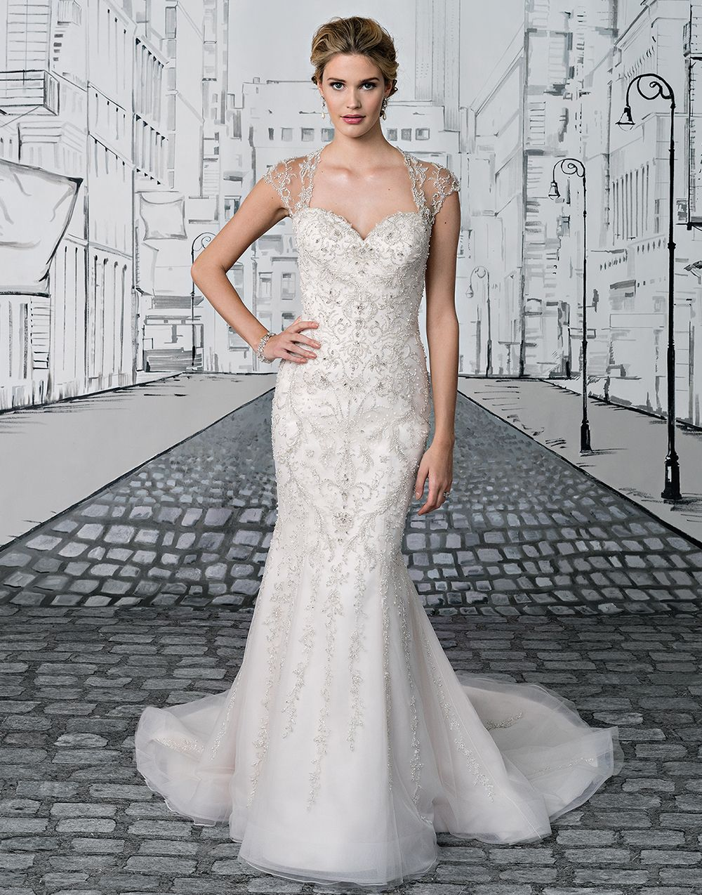 4f2a03b97 Exude modern glamour in this fit and flare gown with a Queen Anne neckline,  allover