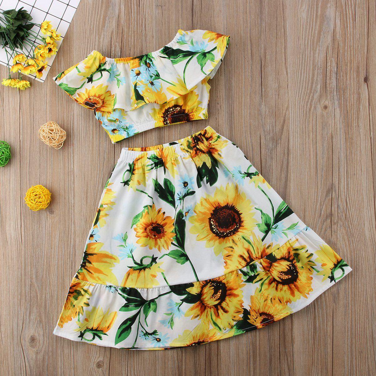 Toddler Kid Girl Sleeveless Off Shoulder Crop Tops Sunflower Long Dress Two Piece Set