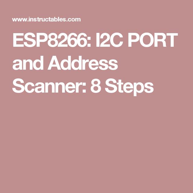 ESP8266: I2C PORT and Address Scanner | I2C-bus on the Atmel AVR