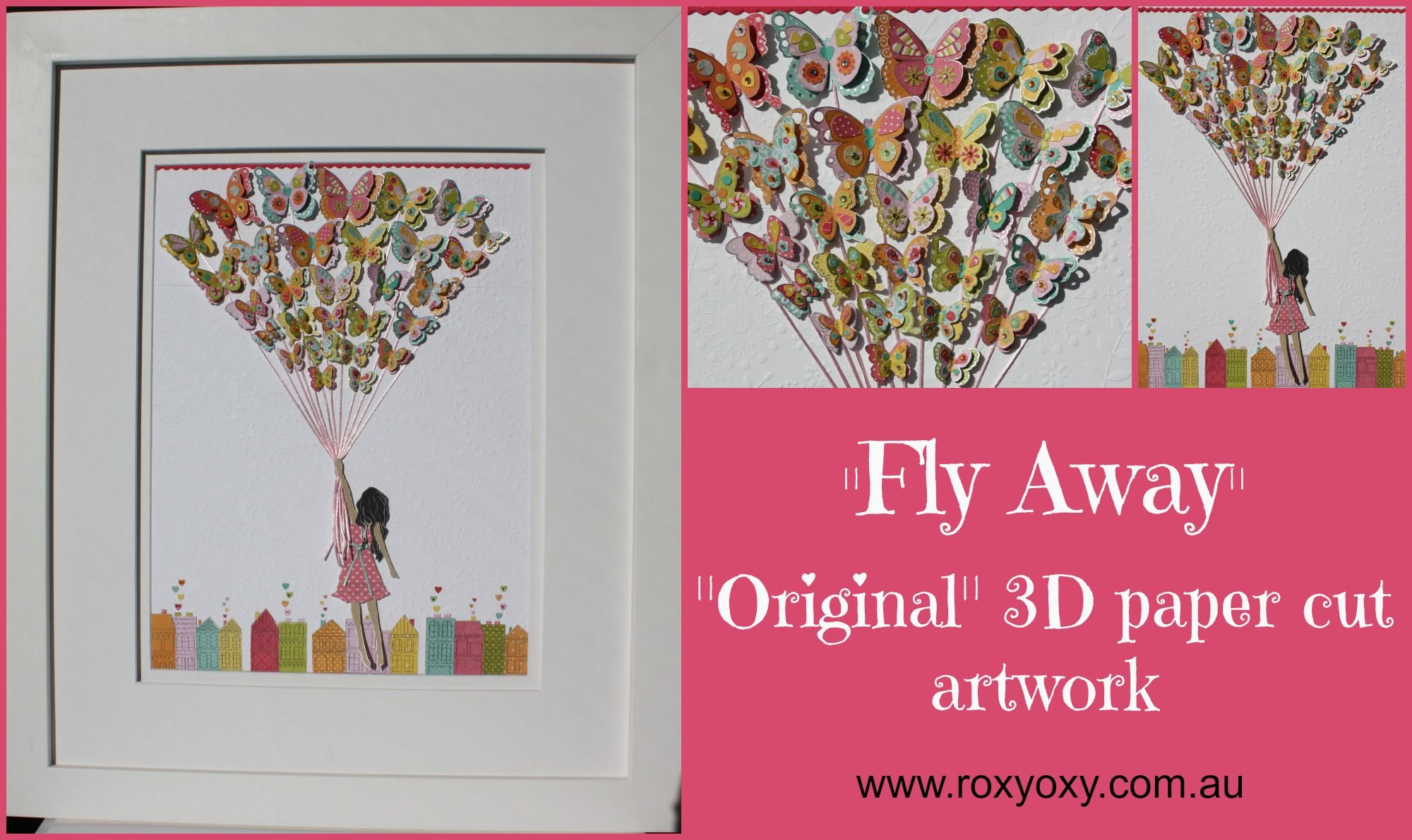 Fly Away Framed 3D Paper Cut Childrens Wall Art By Roxyoxy