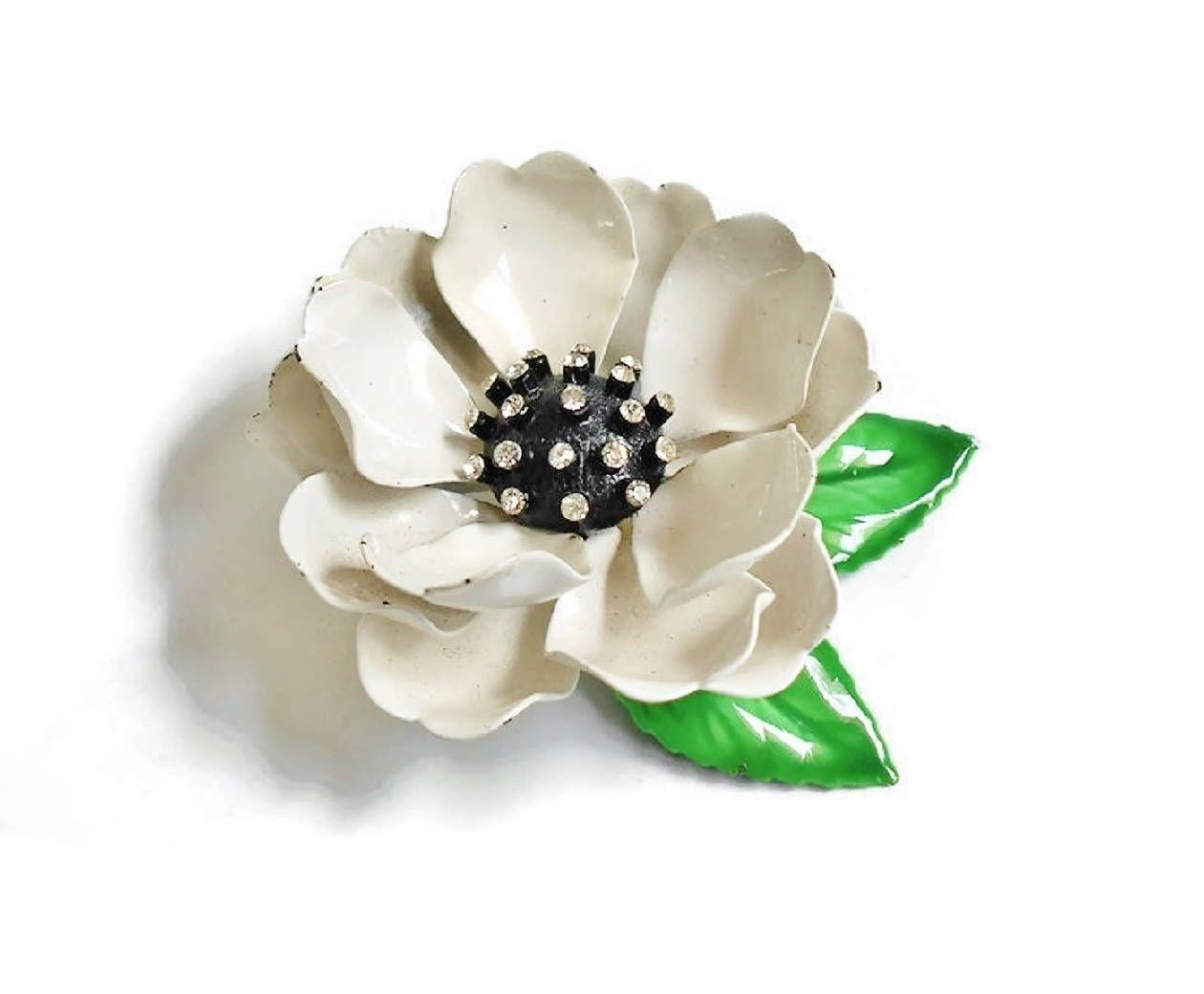 White Flower Brooch Dimensional Black And White Flower Blossom