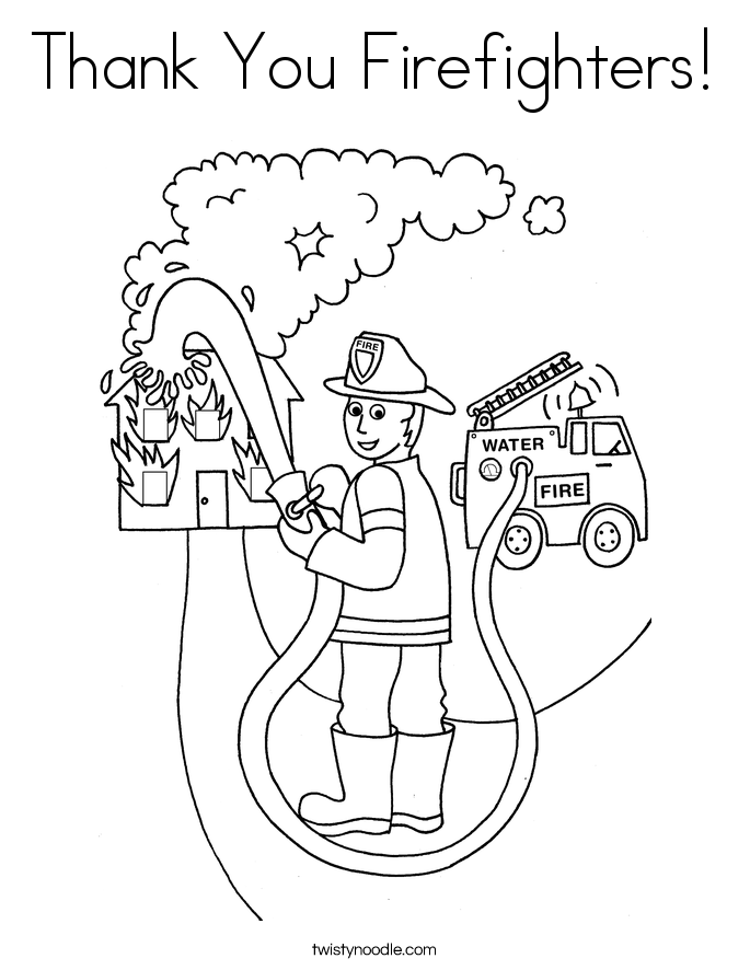 Thank You Firefighters Coloring Page Coloring Pages Coloring Books People Coloring Pages
