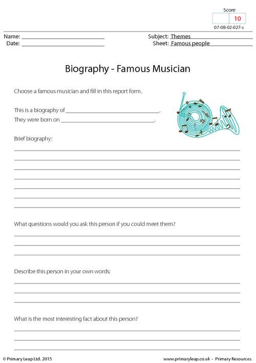 PrimaryLeapuk - Biography - Famous Musician Worksheet - biography report template