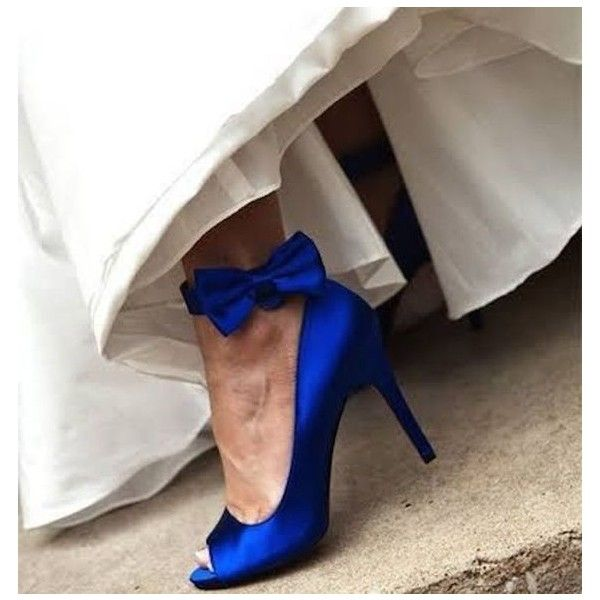 Royal Blue Bridal Heels P Toe Ankle Bow Satin Pumps For Wedding