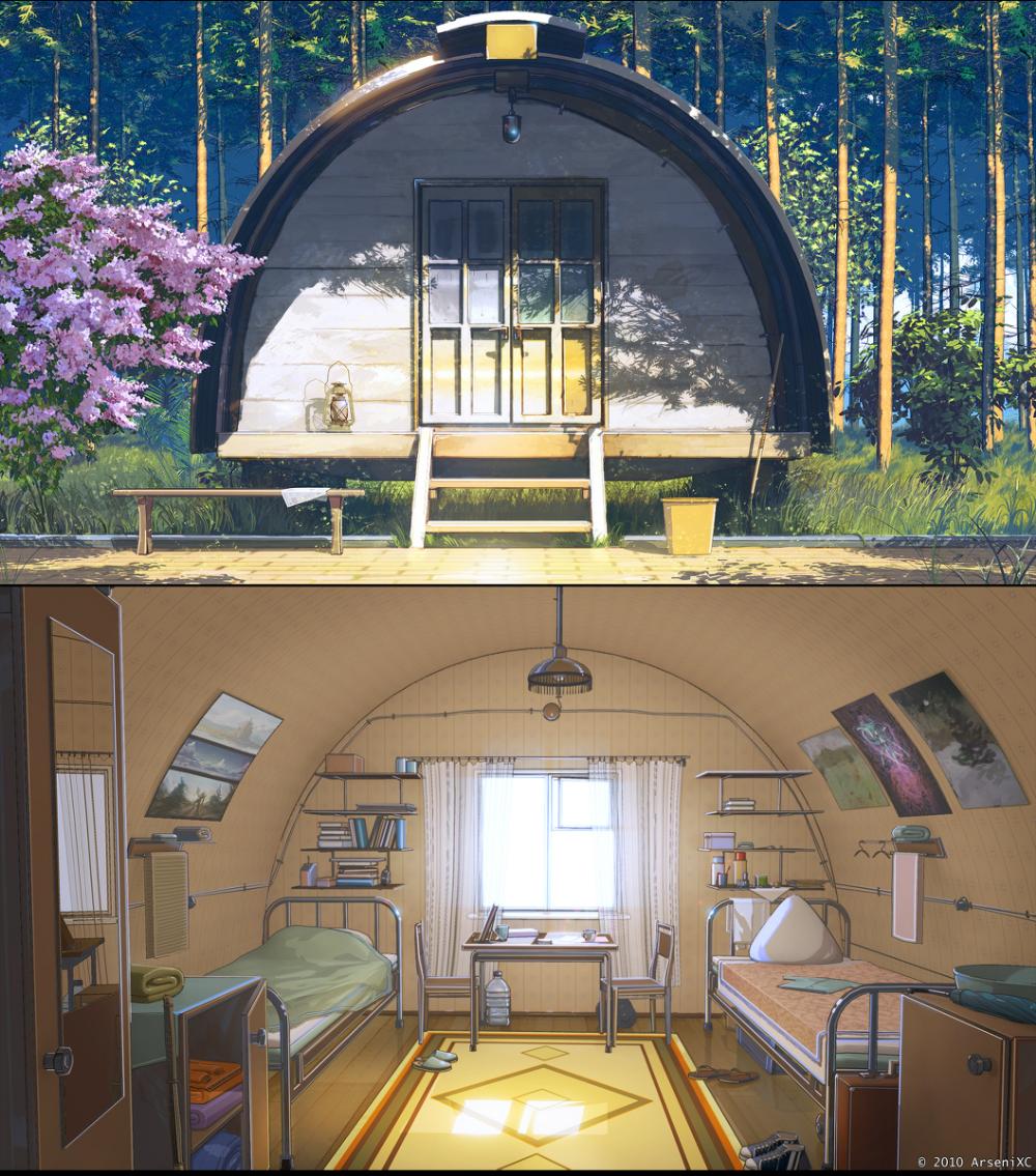 Summer Camp 夏の小さな家 Arsenixcのイラスト Anime Scenery