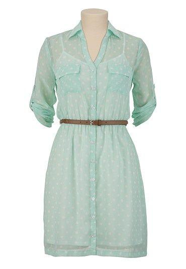 187 Belted Polka Dot Shirt Dress available at