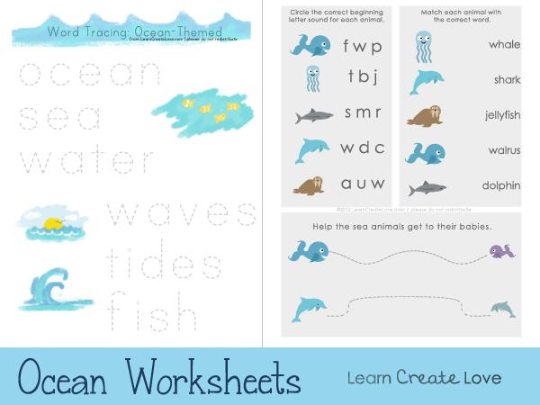 Ocean-Themed Printable Worksheets for Preschoolers // from http ...