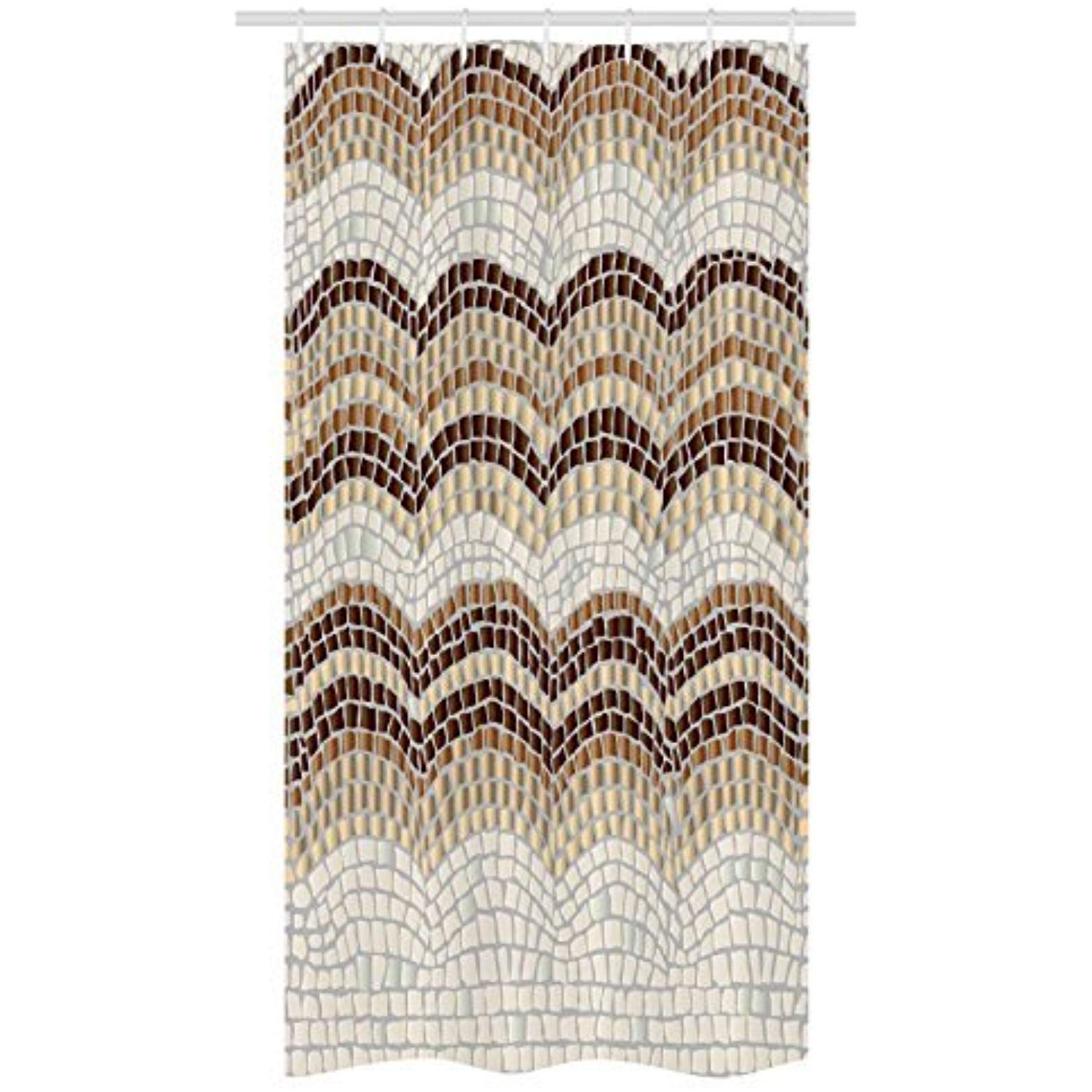 Ambesonne Beige Stall Shower Curtain Gradient Colored Mosaic