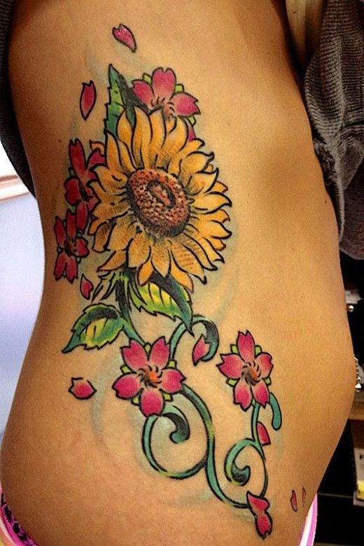 Sunflower Watercolor Side Tattoo With Cherry Blossom Flower