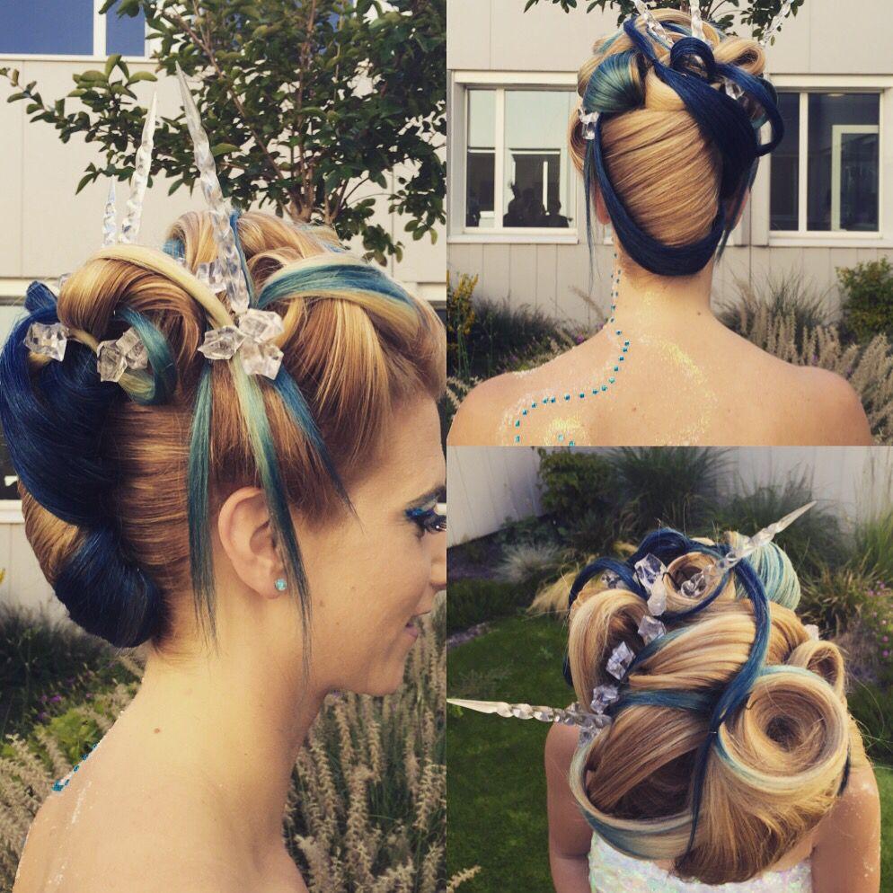 Concours coiffure brevet de maîtrise chignon thème glace