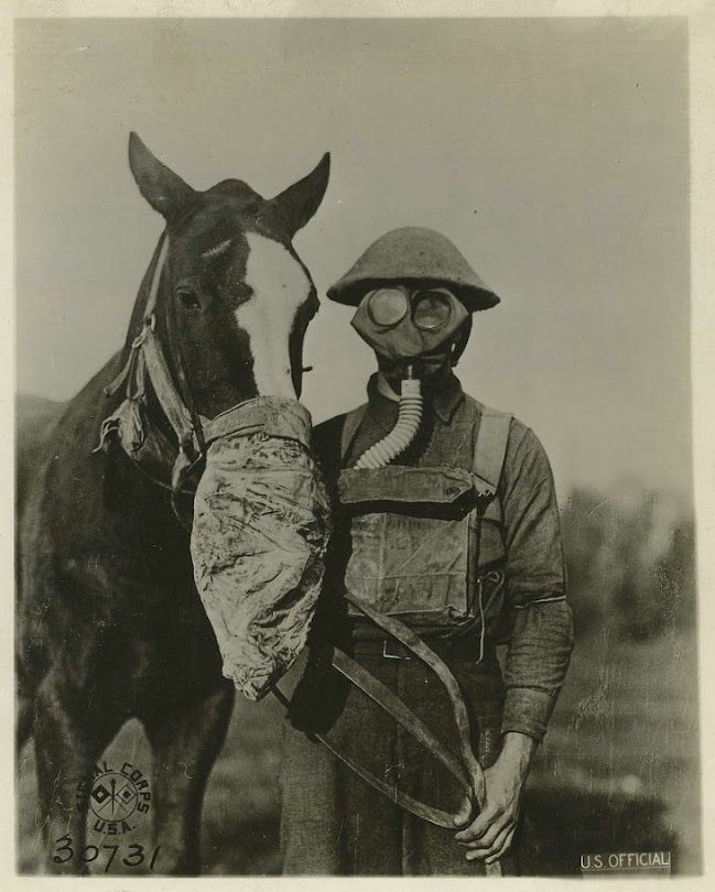 Gasmasks for man and beasts, WWI - USA