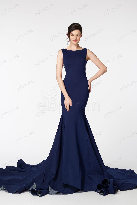 Backless mermaid navy blue prom dresses long in prom dresses
