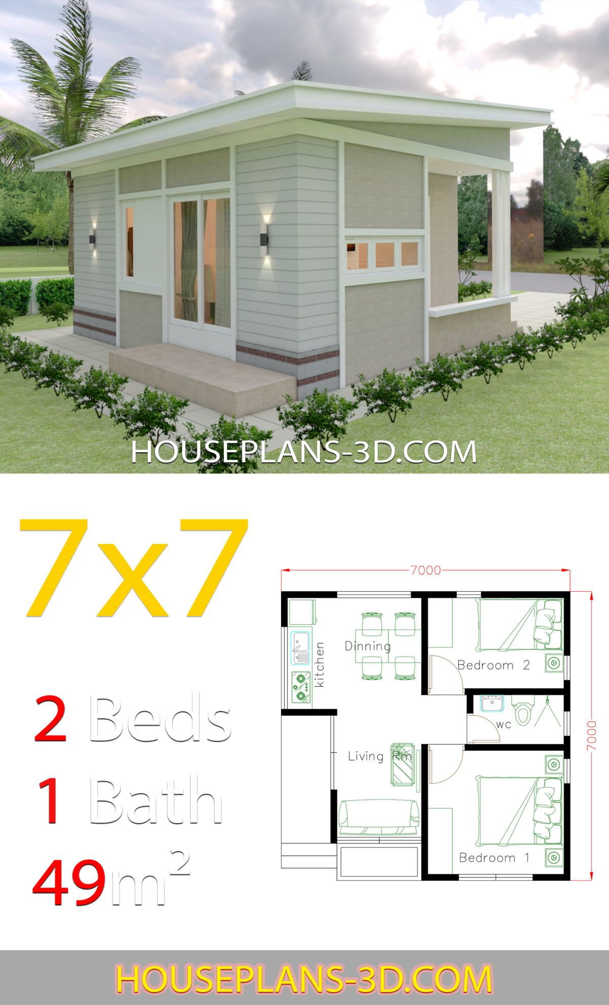 Small House Design 7x7 With 2 Bedrooms House Plans 3d Small House Design Plans Two Bedroom House Design Small House Design