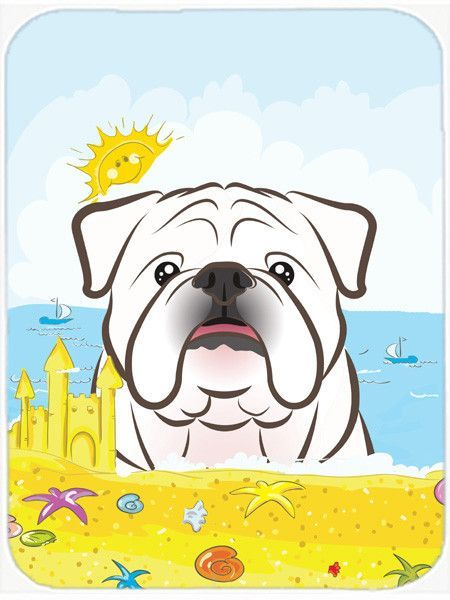 White English Bulldog Summer Beach Glass Cutting Board Large BB2088LCB