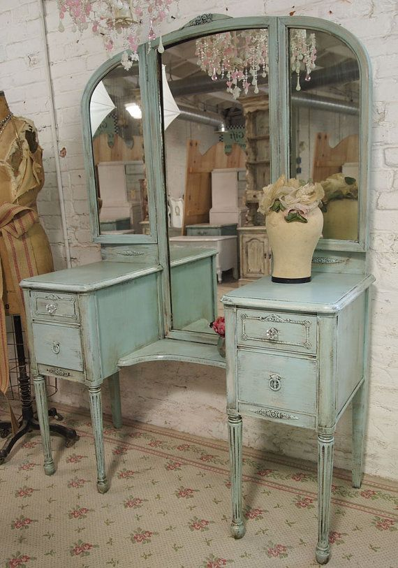 this could work; I like the roomy drawers, the cutaway for a stool,  tri-fold mirror - Vintage Painted Cottage Aqua Chic Triple Mirror Vanity VAN128