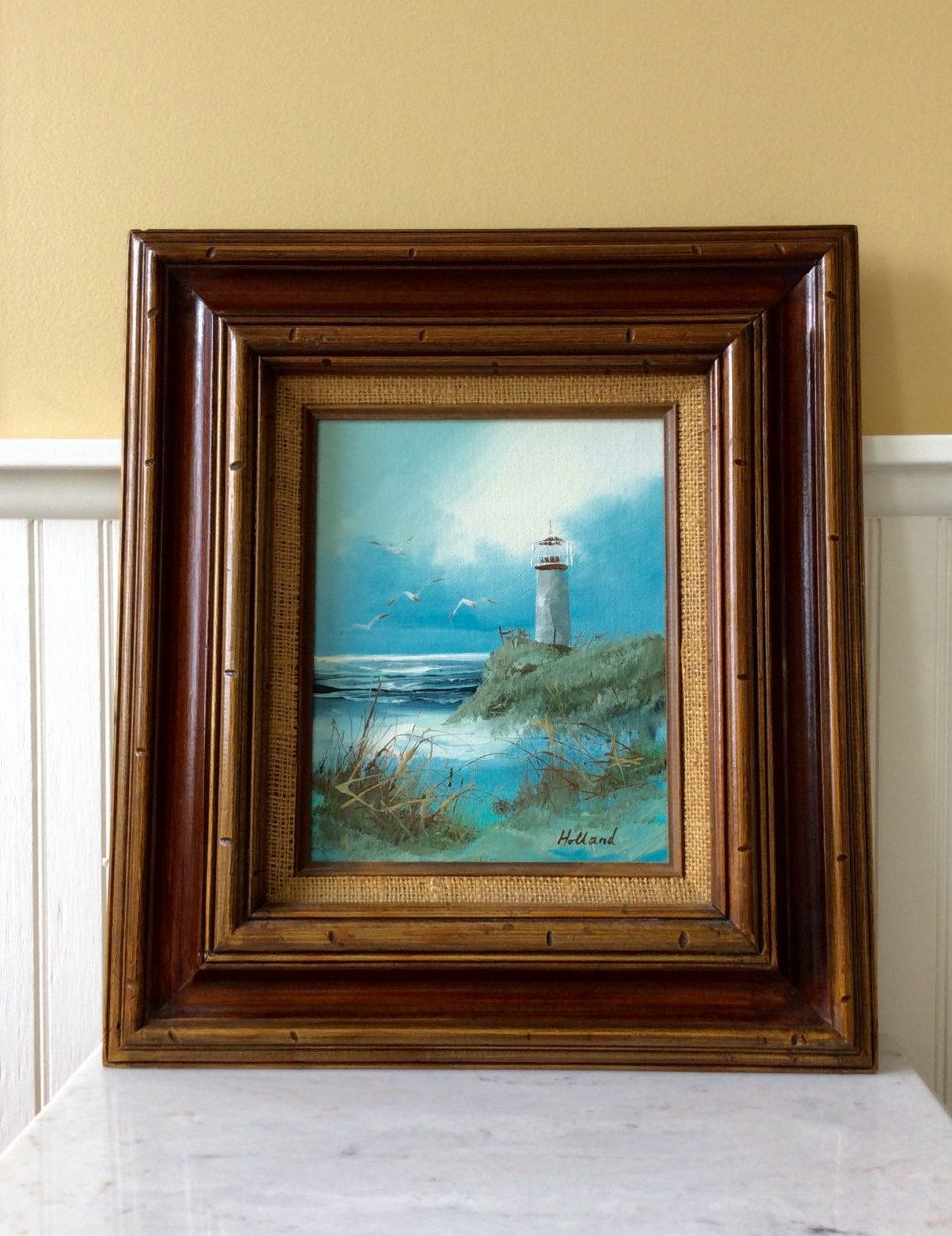 vintage framed picture lighthouse by the sea oil painting signed artist holland ocean blues coastal nautical cottage wall decor