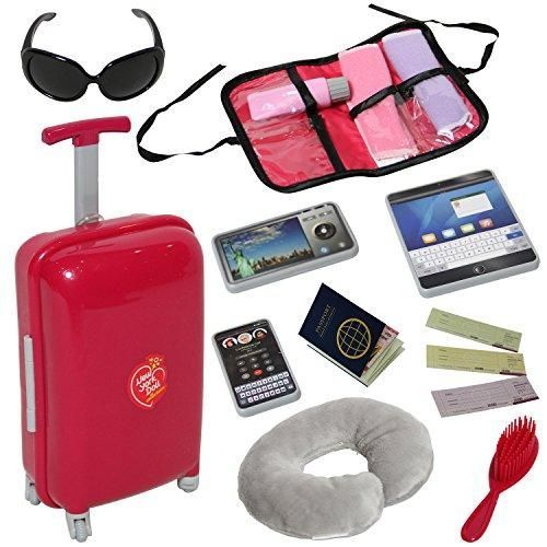Doll Travel Suitcase w/ Accessories-for 18 inch Dolls w/Travel Pillow, Passport & accessories #dollaccessories