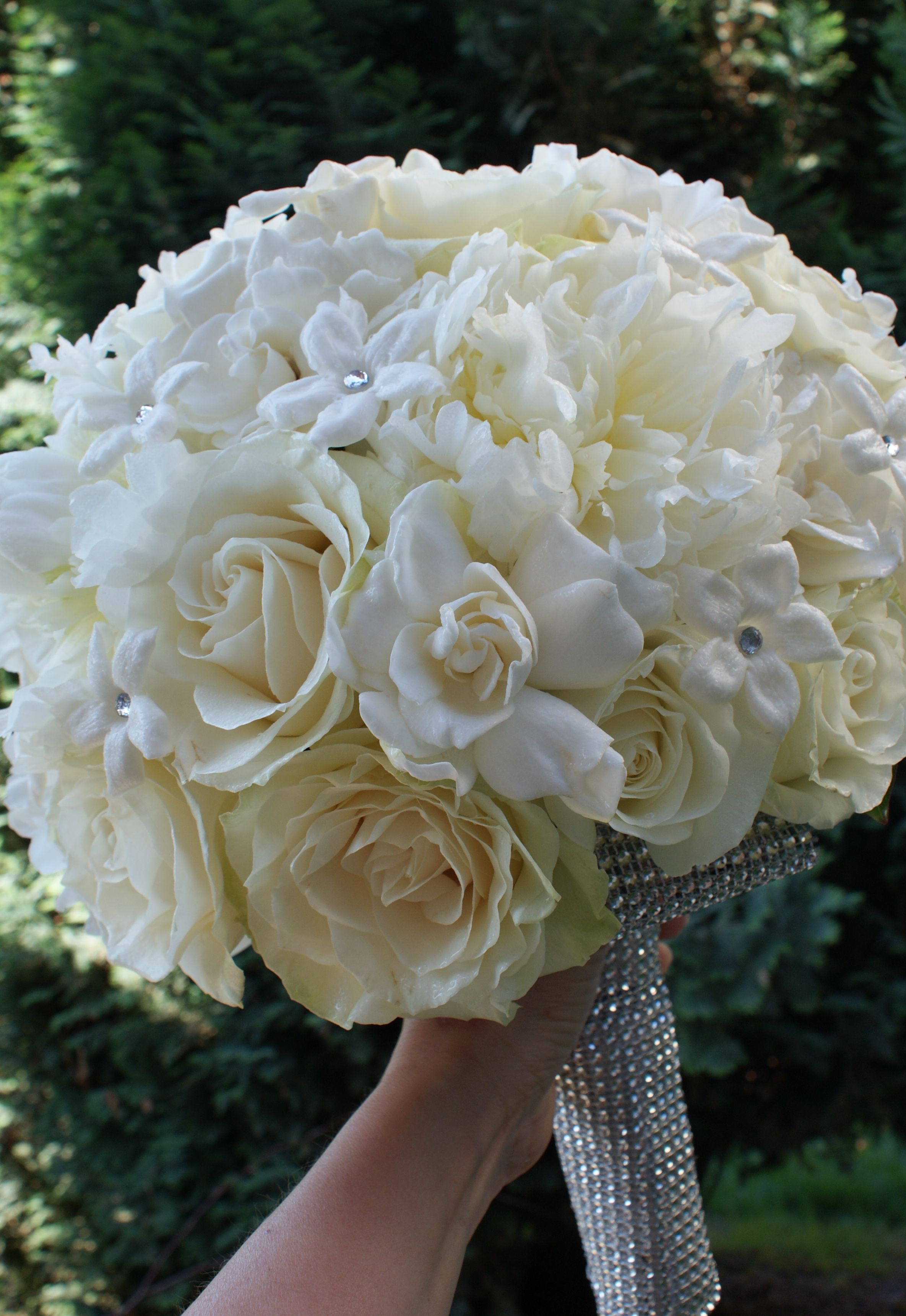 Bridal Bouquet Of Peonies Roses Gardenias And Stephanotis With A