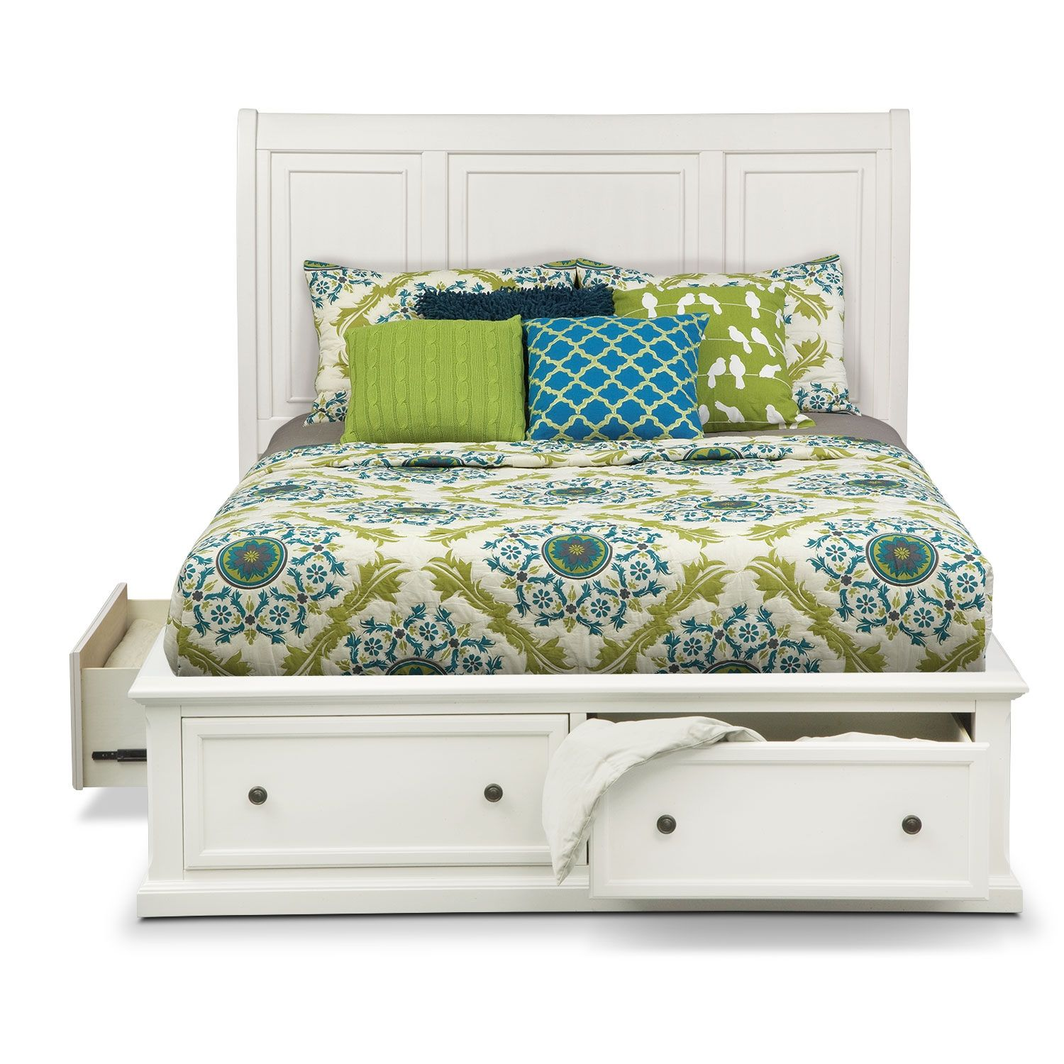 Hanover White King Storage Bed American Signature Furniture