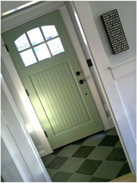 our green front door & entry | Front doors, Doors and House remodeling
