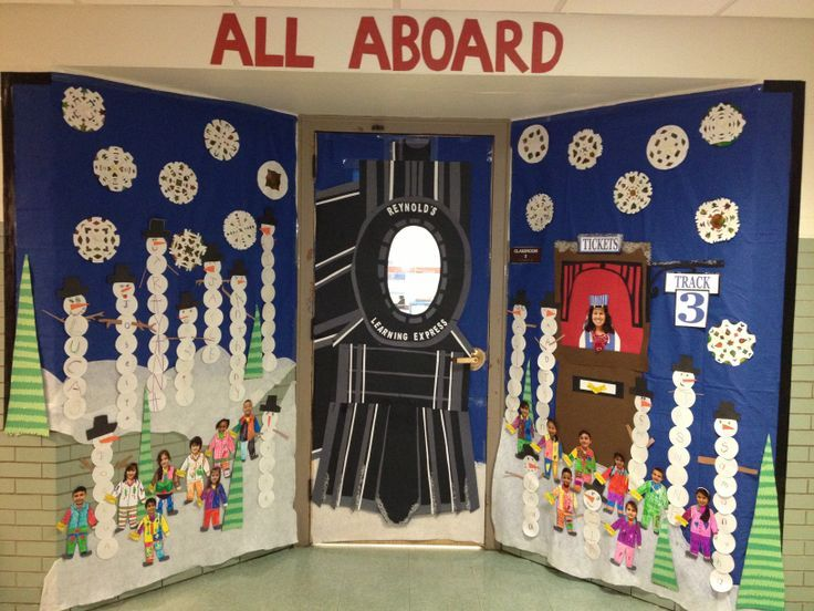 Polar Express Classroom Decoration Ideas ~ Winter door decorating at school polar express bulletin