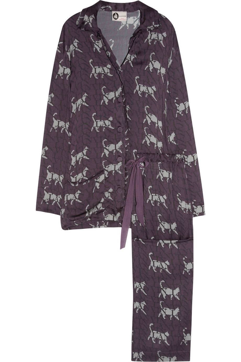 God I love a button up silk pajama. By Lanvin + cats  ! Yes 8394b28a6bcd7