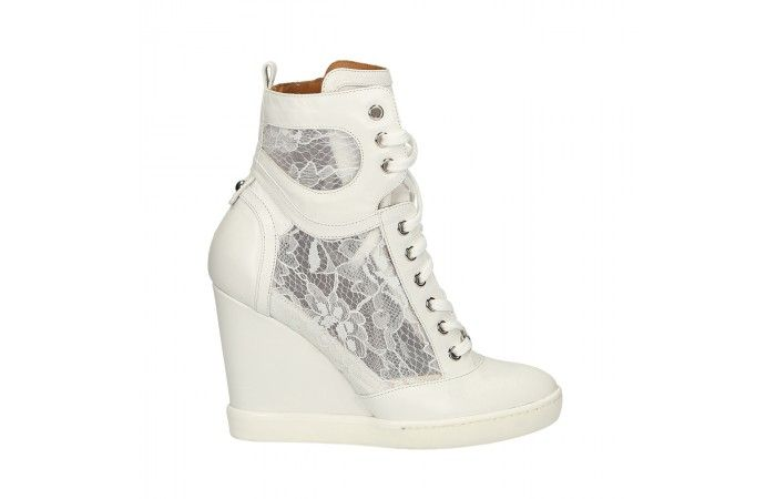 White lace and calf leather wedged sneaker N.Art: 9057--.1.14E.TA.D4033.90570003