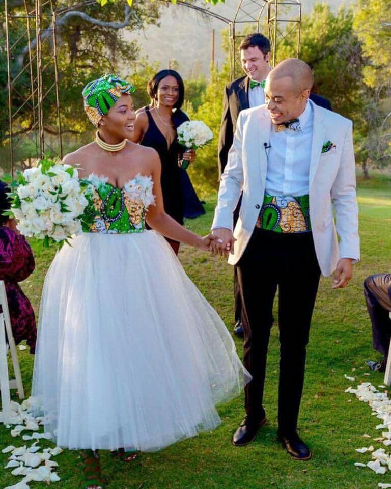 South African Zulu Bride Nosipho Miya Her Groom Demetrius Leiva Wore Ankara Inspired Wedding Attires For Their