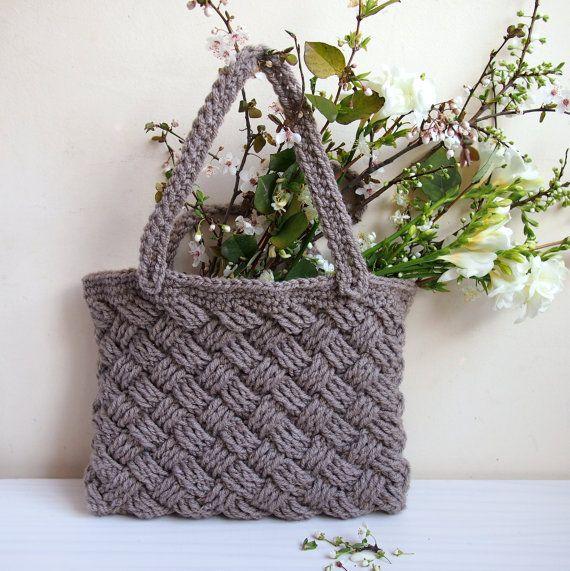 Crochet Pattern basketwave tote cable celtic knot woman | bolsos de ...