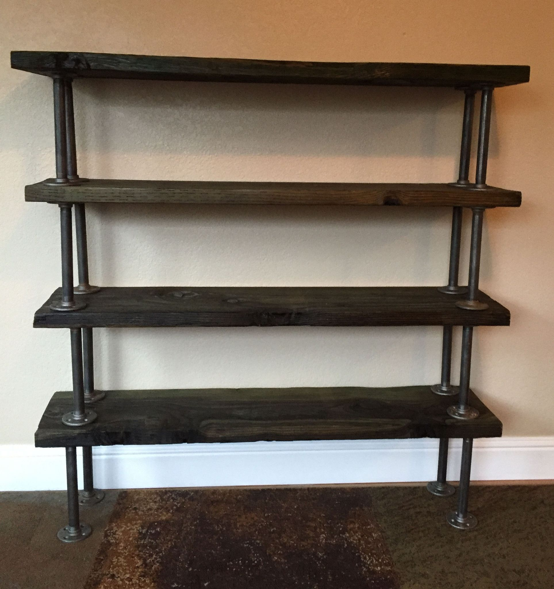 Reclaimed Bookcase with Industrial Piping, Industrial ...