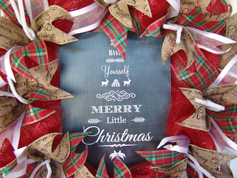 Have Yourself Merry Little Christmas Chalkboard Quote Saying Deco Mesh Door Wreath Gift Jewel Tones By JandJPrettyThings On Etsy