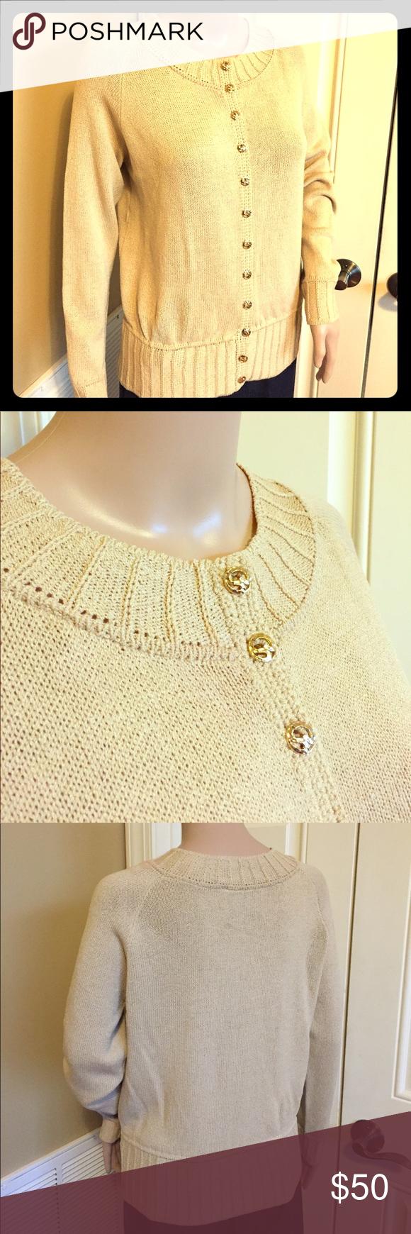 🎗ST. JOHN Vtg Light Gold/Tan Knit Cardigan🎗 | Gold cardigan and ...