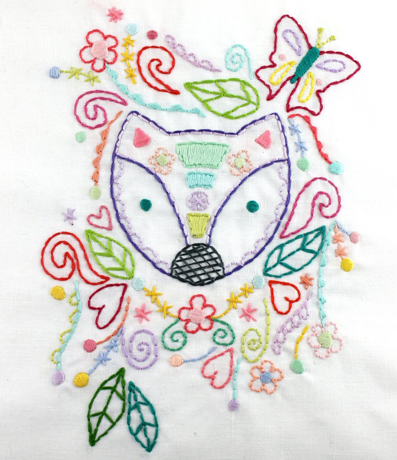 Forest fox hand embroidery pdf pattern best
