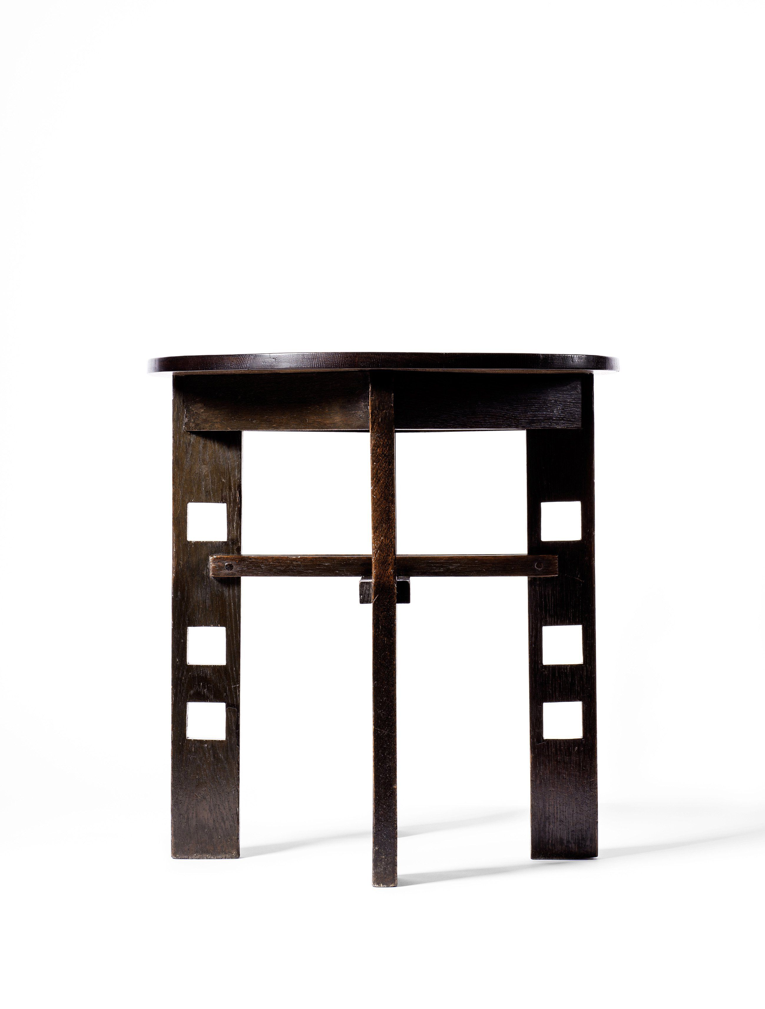 Charles rennie mackintosh table 1903 ebonized oak made by francis smith 715 cm x 65 cm two pieces made designed for the willow tea rooms glasgow