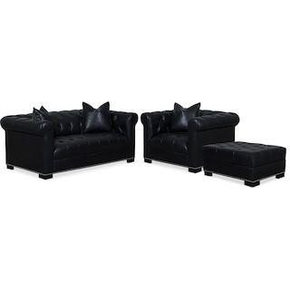 Couture Apartment Sofa Chair And Ottoman Set Black Living Room Seating Chair And Ottoman Set Apartment Sofa