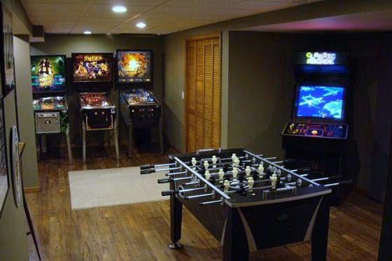 Game Room Design Ideas image of best basement game room design ideas Decorating Interior With Games Room Ideas Minimalist Game Room Design With Modern Game Play And Foosball With Wooden Floors And Grey Paint