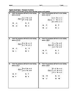 Algebra Quick Quiz Piecewise Functions Algebra Absolute Value