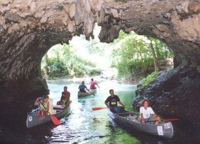 Cave Spring -- Shannon County, Missouri  Canoe traffic jam