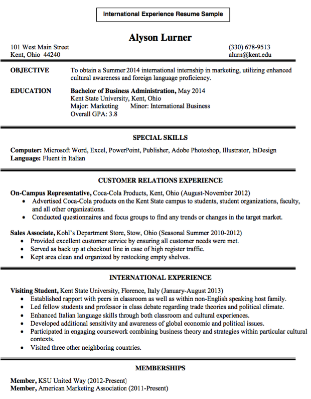 international experience resume sample